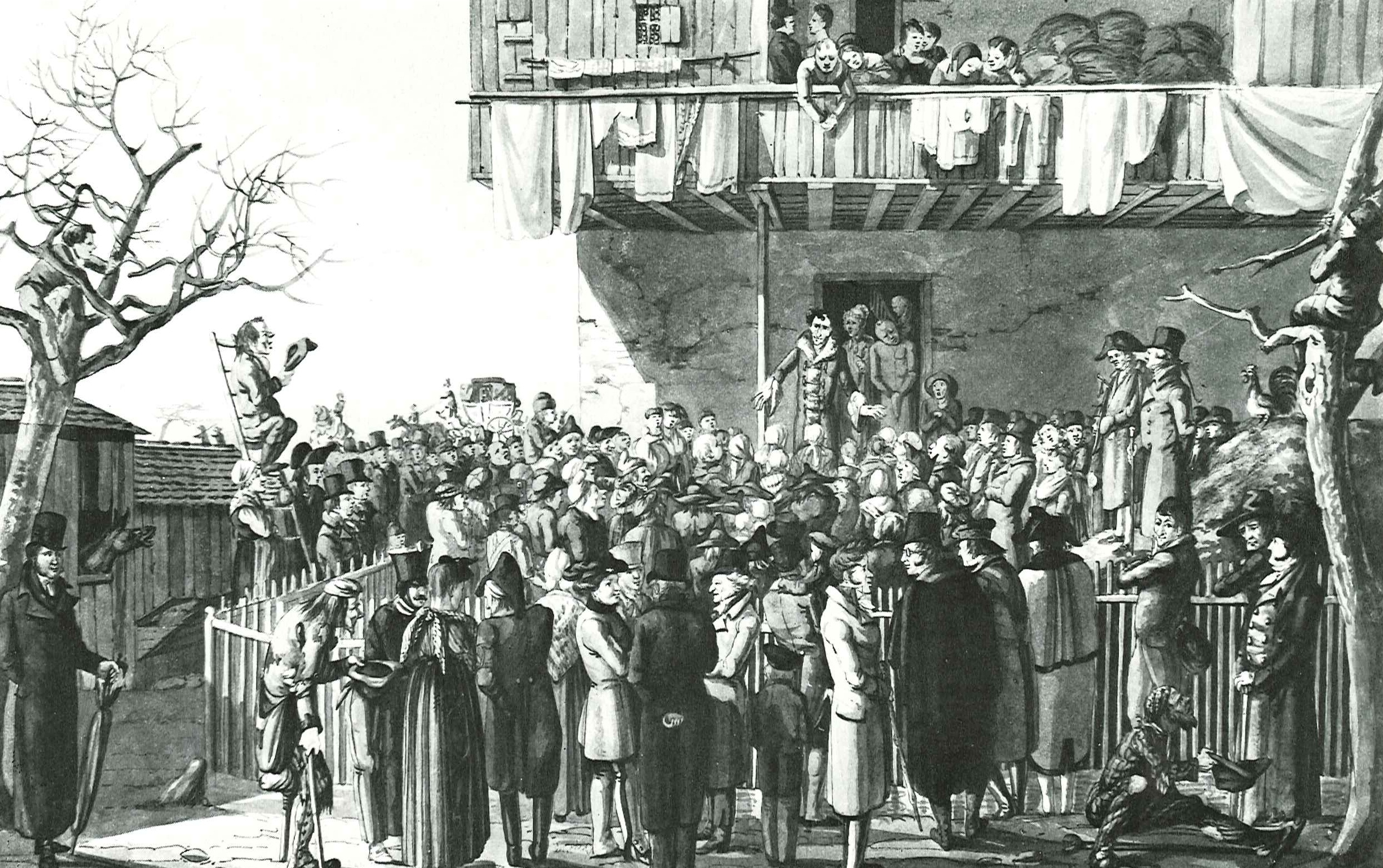 "Aquarela de Hieronymus Hess que descreve multidões saudando a Baronesa de Krüdener (à porta) em Grenzach-Wyhlen, perto de Basileia - <a href=""https://commons.wikimedia.org/wiki/File:Kr%C3%BCdener_Grenzach_1817.jpg"" target=""_blank"" rel=""noopener noreferrer"">Fonte</a>."