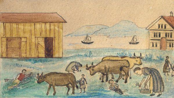 """Representação de pessoas comendo grama devido à fome, provavelmente durante a fome de 1816-17 na Suíça. Artista desconhecido, apesar de ser a artista suíça Anna Barbara Giezendanner (1831-1905) - <a href=""""https://commons.wikimedia.org/wiki/File:People_eating_grass_in_famine,_Switzerland.jpg"""" target=""""_blank"""" rel=""""noopener noreferrer"""">Fonte</a>."""