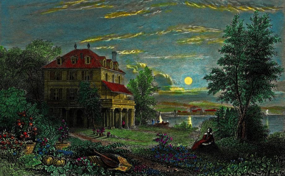 Detalhe de uma gravura colorida à mão da Villa Diodati de Byron, às margens do Lago de Genebra, por Edward Francis Finden, ca. 1833, sobre desenho de William Purser.