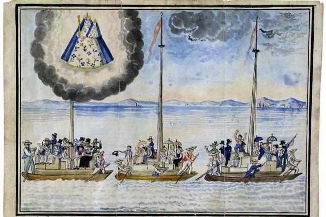 """Pintura votiva de 1819 retratando emigrantes de Friburgo no Lago Neuchâtel a caminho do Brasil via Holanda como parte das migrações de 1816-17 - <a href=""""https://commons.wikimedia.org/wiki/File:Votive_painting_of_1816-17_Swiss_emigration.jpg"""" target=""""_blank"""" rel=""""noopener noreferrer"""">Fonte</a>."""