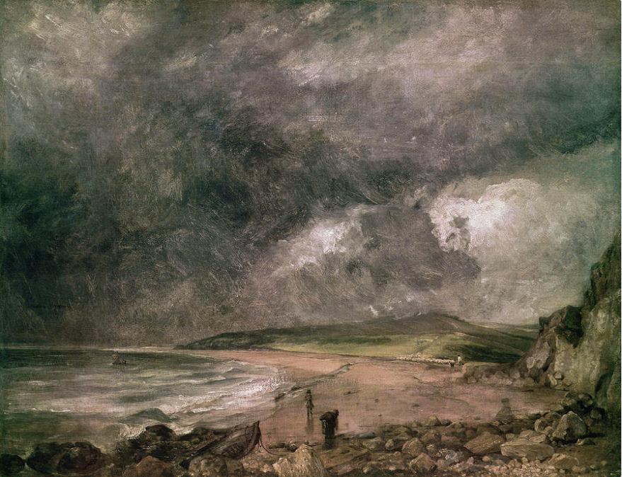 "Baía de Weymouth Com Tempestade Aproximando, de John Constable, 1818-1919 - <a href=""https://commons.wikimedia.org/wiki/File:Weymouth_Bay_With_Approaching_Storm.jpg"" target=""_blank"" rel=""noopener noreferrer"">Fonte</a>."