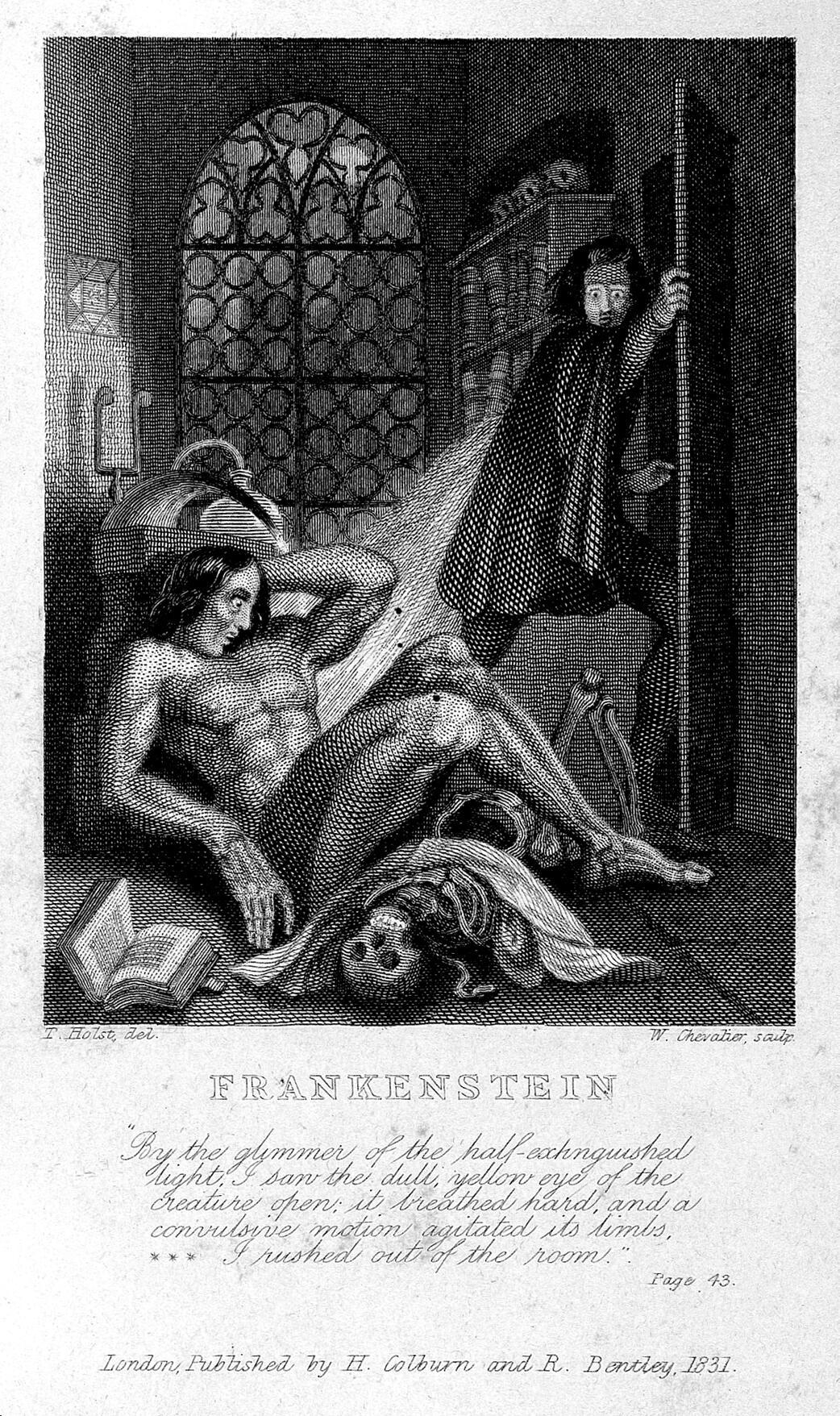 """Frankenstein observando os primeiros movimentos de sua criatura. Gravura de W. Chevalier sobre Th. von Holst, 1831. Destaque como frontispício da edição de 1831 do romance de Shelley. <a href=""""http://wellcomeimages.org/indexplus/image/L0027125.html"""" target=""""_blank"""" rel=""""noopener noreferrer"""">Fonte: Wellcome Library</a>."""