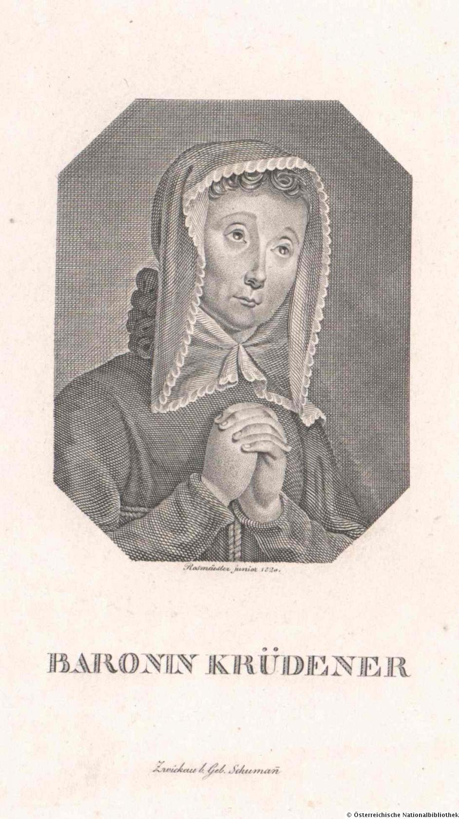 """Retrato da Baronesa de Krüdener, como era em 1820, apresentado em <em>A Vida e as Cartas de Madame de Krudener</em> (1893), de Clarence Ford - <a href=""""https://archive.org/details/lifelettersofmad00fordiala"""" target=""""_blank"""" rel=""""noopener noreferrer"""">Fonte</a>."""