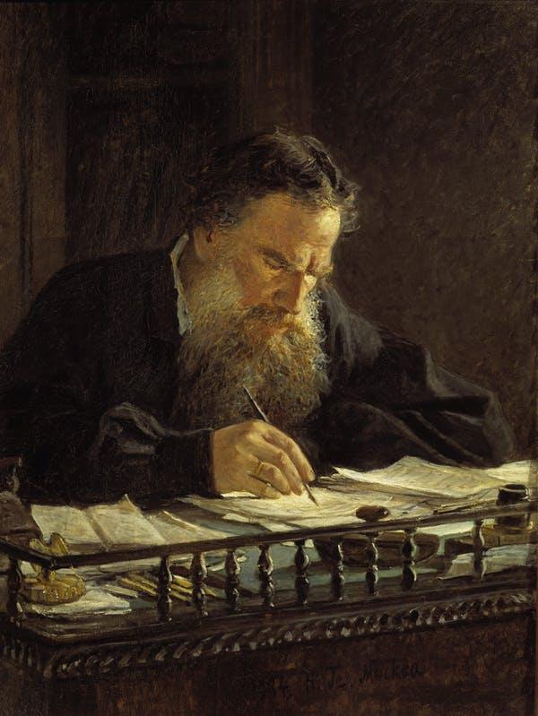 Pintura de Nikolai Ge, 'Portrait of Leo Tolstoy' (c. 1870)