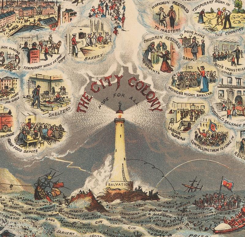"""Detalhe do farol de salvamento da ilustração de William Booth """"In Darkest England and the Way Out"""" — Fonte."""