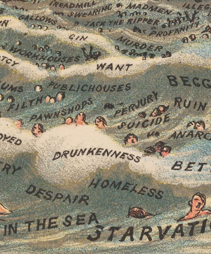"""Detalhe das águas pecaminosas da ilustração de William Booth """"In Darkest England and the Way Out"""" — Fonte."""