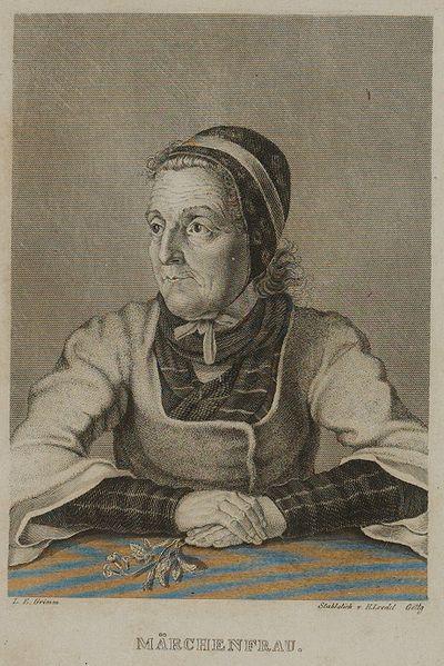 Frontispício da edição de 1840. Dorothea Viehmännin em retrato de Ludwig Emil Grimm, uma das mais importantes fontes dos contos de fadas de Kinder-und Hausmärchen. Ela morreu em 1815.