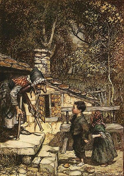 Ilustração de Arthur Rackham para o livro Hansel & Grethel & other tales (João e Maria e outras histórias, 1920).