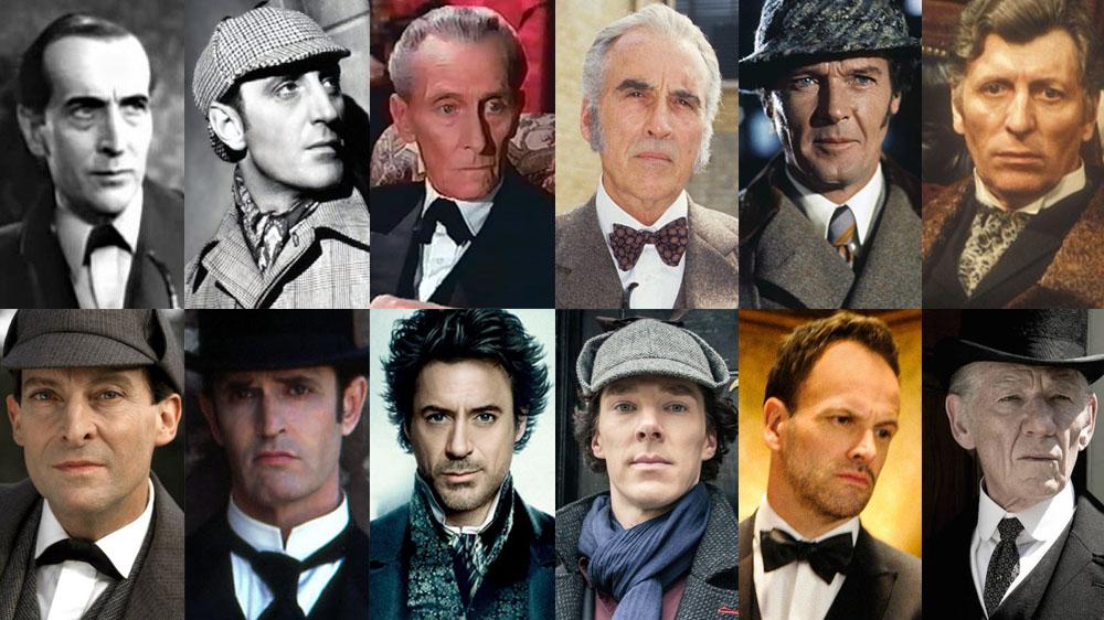 Diversos atores que interpretaram Sherlock Holmes no cinema.