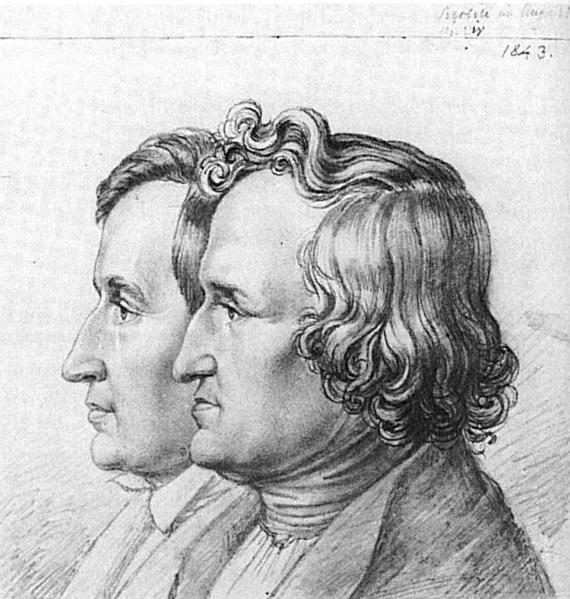 Desenho a lápis de Jacob e Wilhelm Grimm (1843), do Historisches Museum em Hanau.