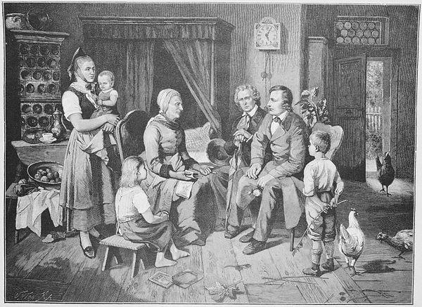 Ilustração sobre foto de Louis Katzenstein mostrando os irmãos Grimm na casa de Dorothea Viehmännin, publicada em Die Gartenlaube (1892).
