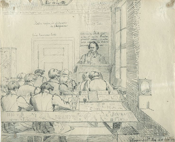 """""""Uma palestra com Jacob Grimm"""", esboço de Ludwig Emil Grimm, irmão mais jovem de Jacob e Wilhelm, em Göttingen, 28 de maio de 1830."""