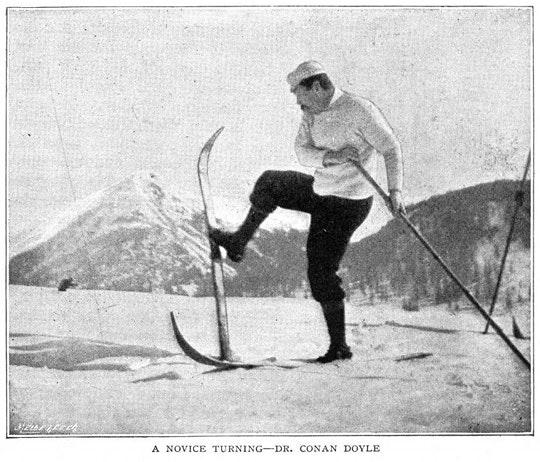 """Imagens de """"Um passeio alpino sobre esquis"""", de Arthur Conan Doyle, The Strand Magazine, vol.8, no.48, pp 657-661 (1894)."""