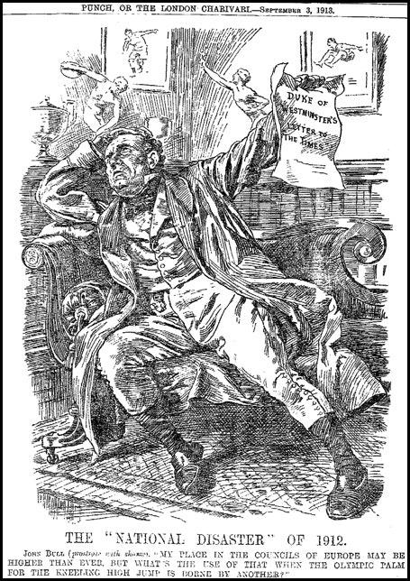 Ilustração satírica sobre a idéia do Conselho Olímpico Britânico de que o orgulho nacional poderia ser restaurado com o sucesso olímpico - Punch 145 (1913).