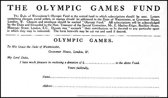 Formulário de doação para o apelo olímpico de £ 100.000 - Conselho Olímpico Britânico de Alvos e Objetos do Fundo dos Jogos Olímpicos (Londres, 1913).