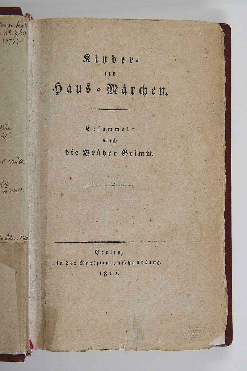 Foto de um excerto da primeira edição de 1812 deKinder-und Hausmärchen.