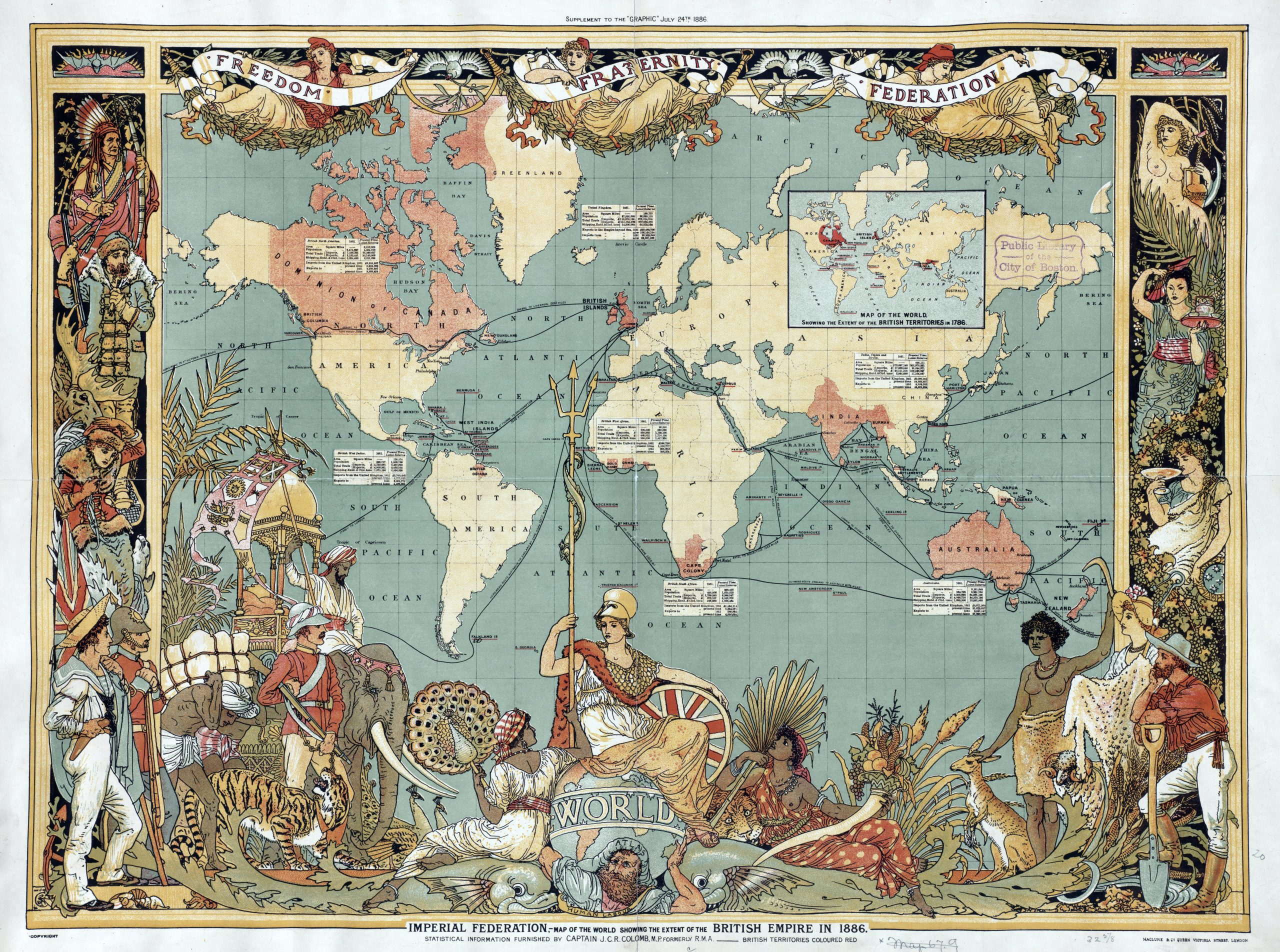 Detalhe de um mapa-múndi de 1886, de Water Crane, mostra a extensão do Império Britânico.