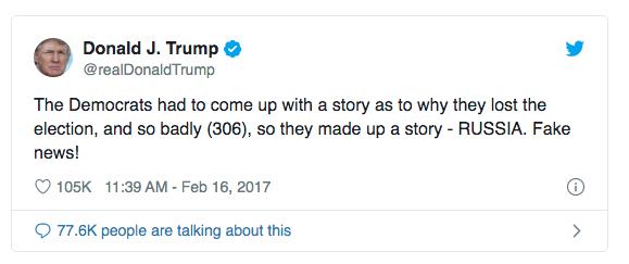 """""""Os Democratas inventaram uma história para explicar porque perderam a eleição, e de lavada (306). Por isso inventaram essa: RUSSIA. Fake News!"""" — Donald J. Trump, 16/02/2017"""