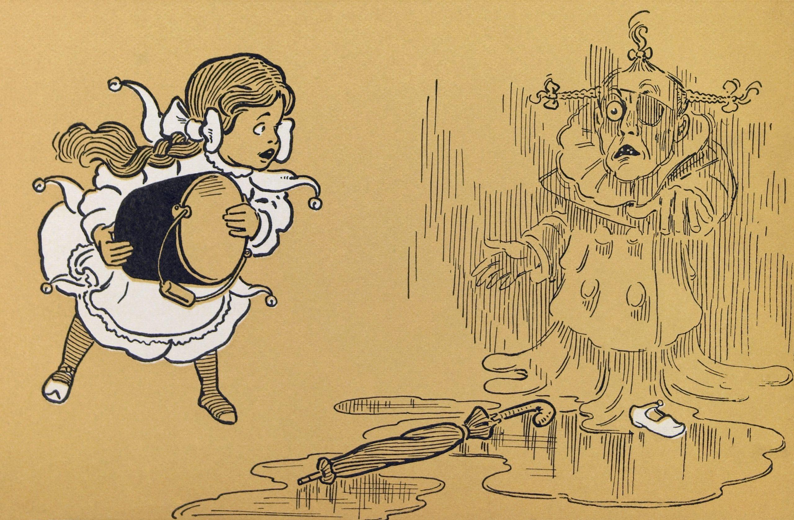 Dorothy é uma menina muito mais nova nas ilustrações de W. W. Denslow.