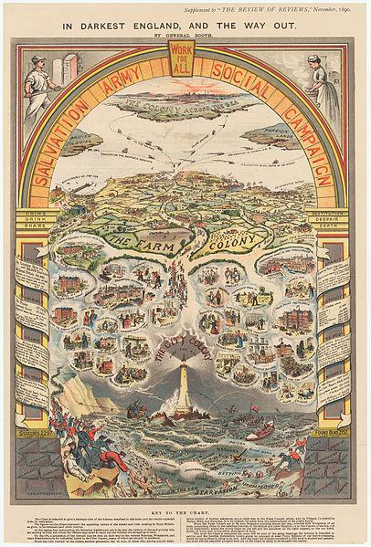 """Ilustração de William Booth """"In Darkest England and the Way Out"""" [A solução para a sombria Inglaterra]. Embora cópias do diagrama tenham sido incorporadas ao livro homônimo de sua autoria, esta cópia foi publicada como um suplemento na The Review of Reviewsde novembro de 1890."""