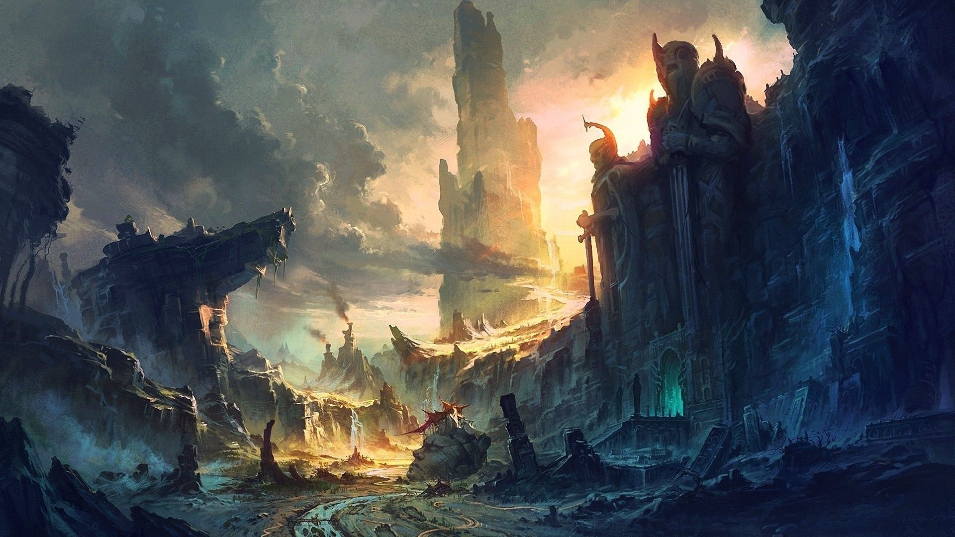 Desenho conceitual para o mundo imaginário de Tolkien em O Senhor dos Anéis.