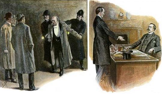 Ilustrações de Sidney Paget para a obra A Casa Vazia, mostrando a prisão do coronel Moran, publicada em The Strand Magazine, 1903 - Fonte.