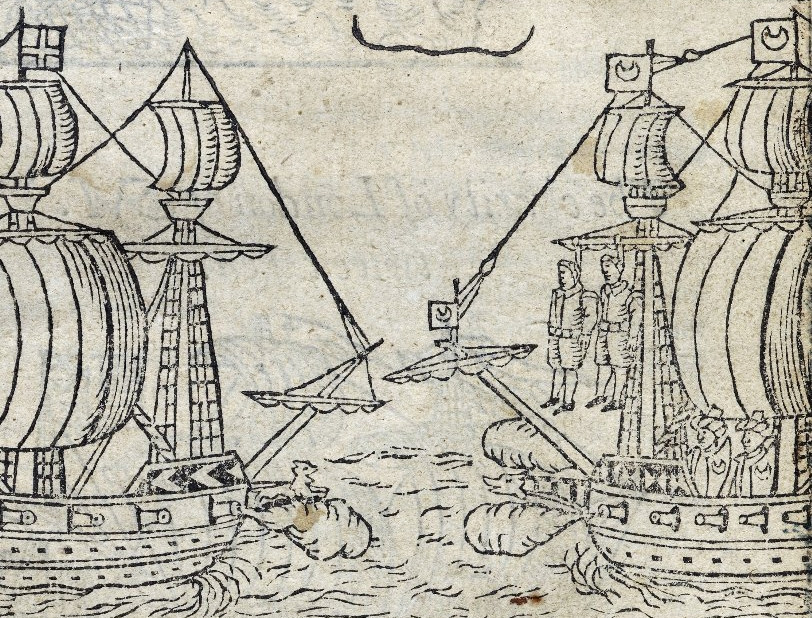 Detalhe da folha de rosto do livro News from sea, of two notorious pyrats Ward the Englishman, and Danseker the Dutchman (1609). Fonte.