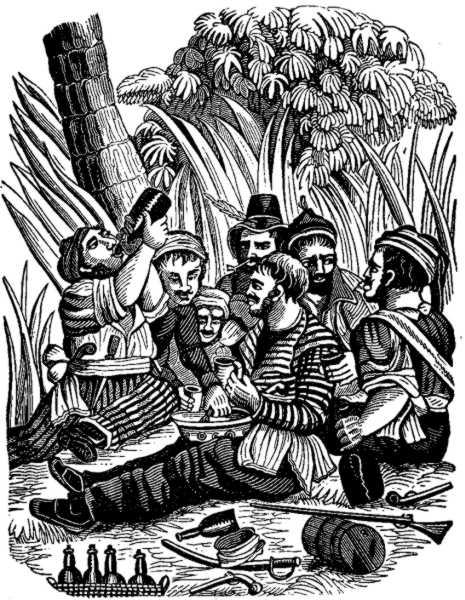 Captain Robert e sua tripulação festejando às margens do rio Calabar, extraído do livro The Pirates Own Book (1837) de Charles Ellms. Fonte.