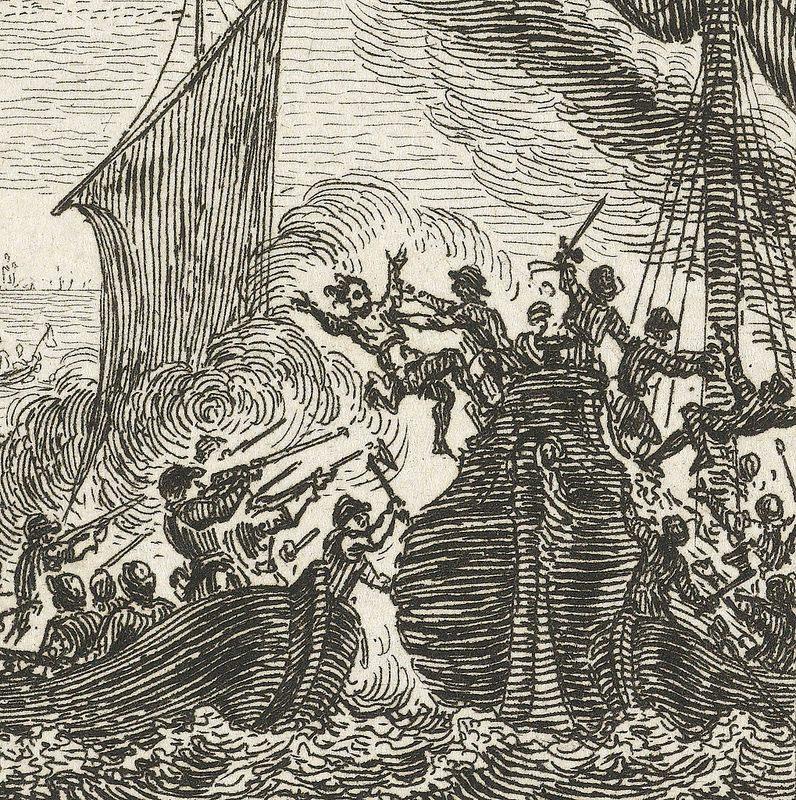 Detalhe do quadro Grote Pier maakt de Zuiderzee onveilig, 1516 (1784) de Simon Fokke. Fonte.