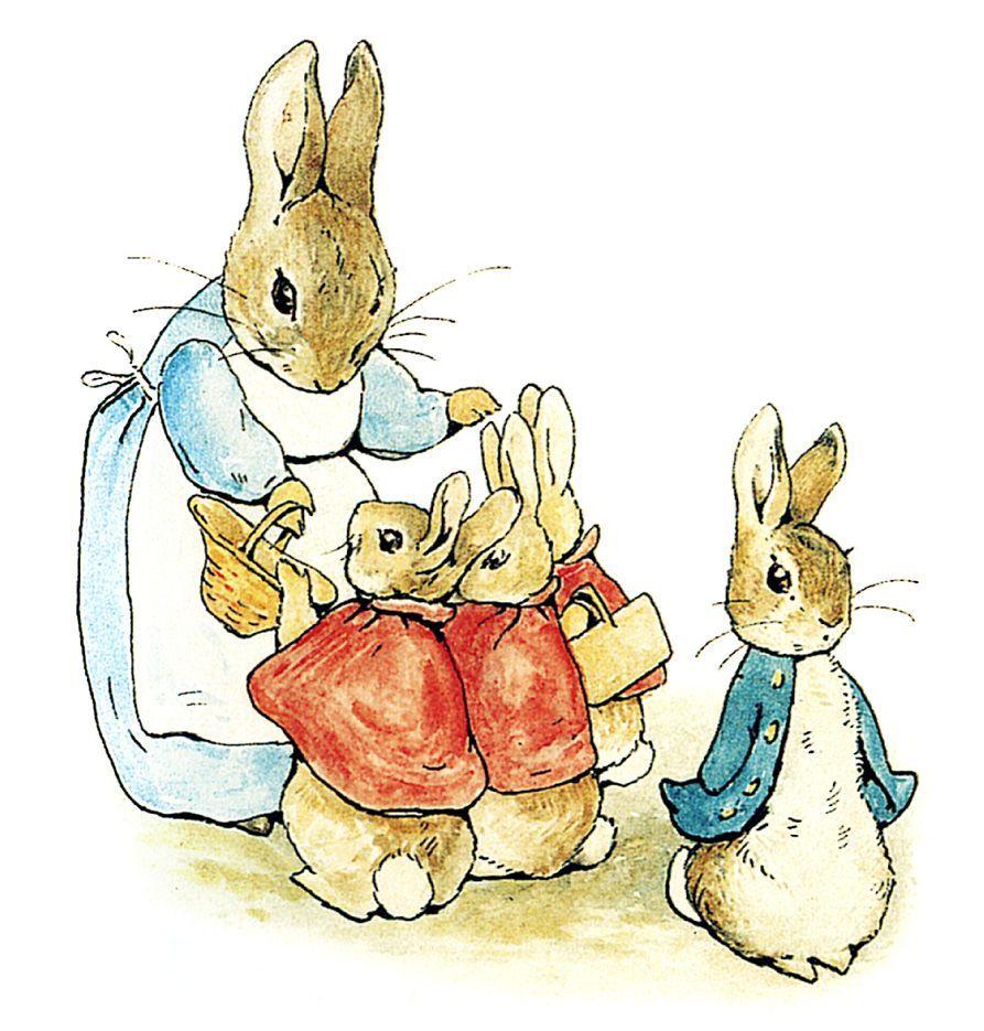 "Ilustração original de Beatrix Potter para ""Peter Rabbit"""