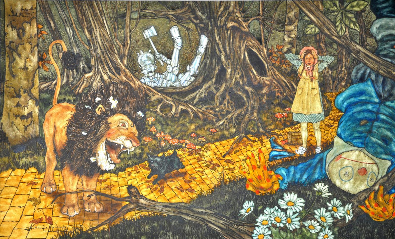 """Ilustração de Michael Hague para """"The Wizard of Oz""""."""