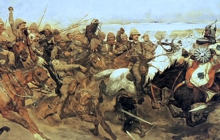 Detalhe de uma pintura de 1898 de Richard Caton Woodville, que mostra a chacina das forças do califa na batalha de Omdurman - fonte.