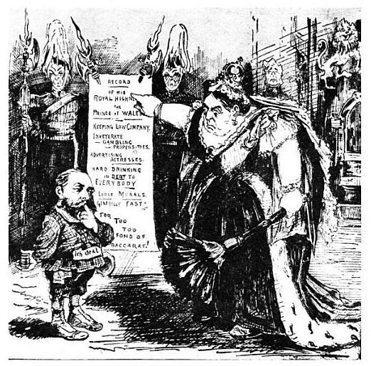 L'enfant terrible (O filho terrível): caricatura da revista satírica Puck de junho de 1891. Por ocasião da participação de Edward no jogo, a rainha Victoria mostra ao príncipe a lista de suas contravenções - Fonte.