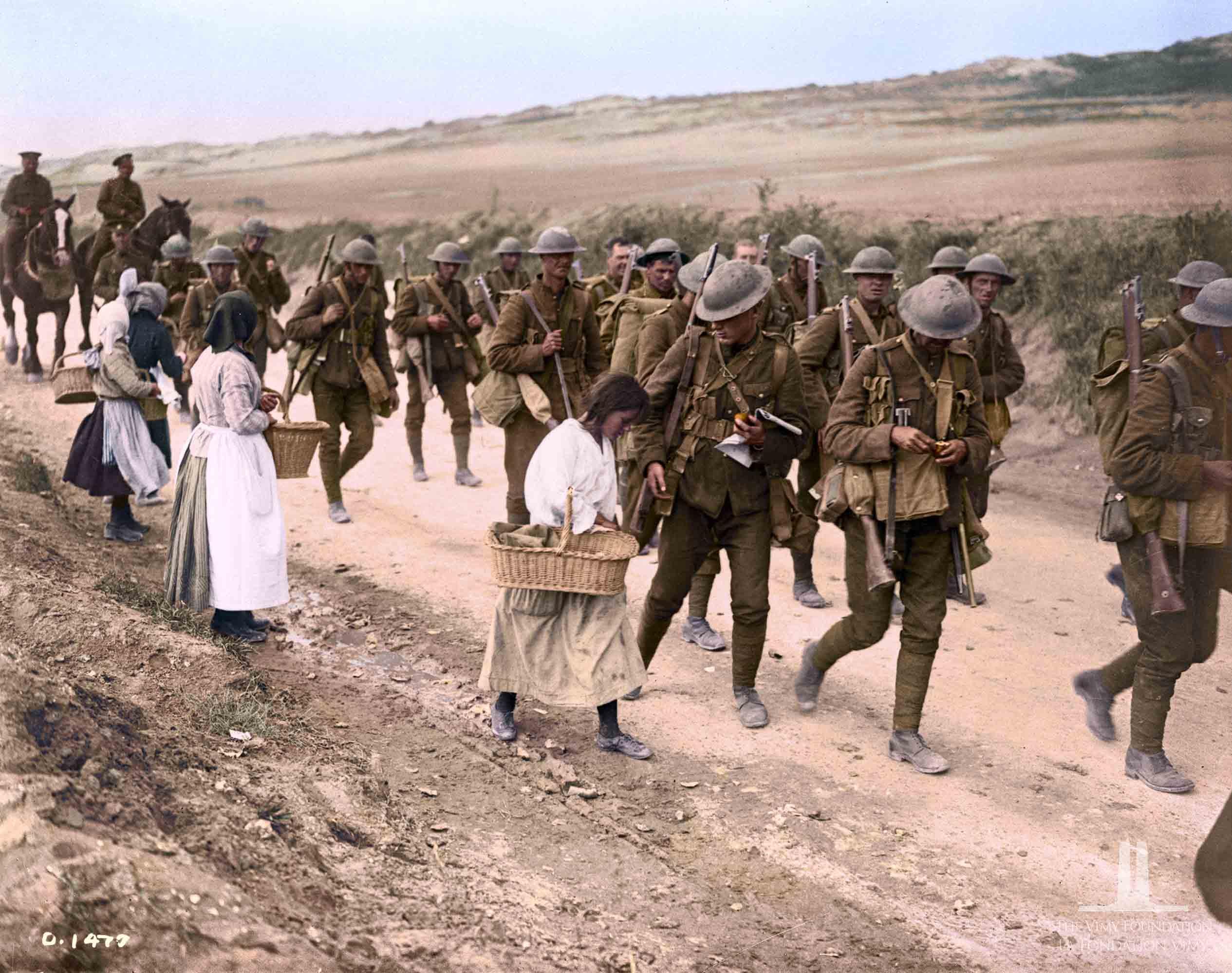 Soldados e civis na Primeira Guerra Mundial.