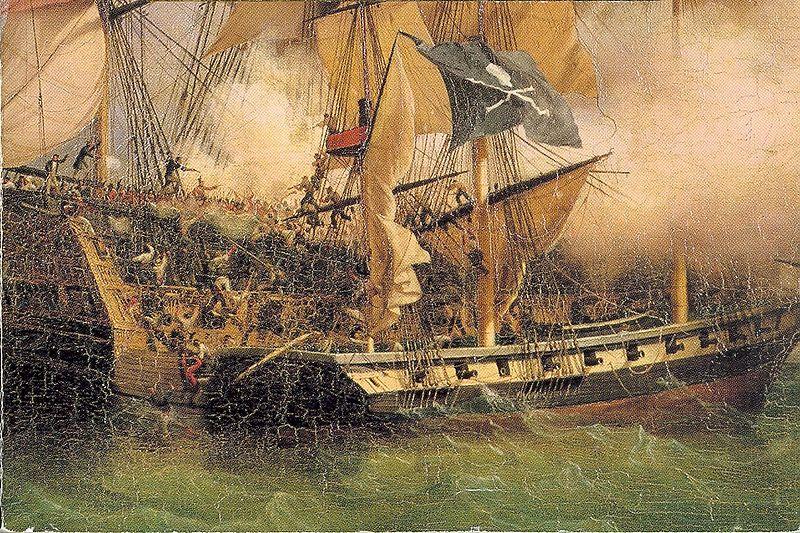 Quadro de Ambroise-Louis Garneray, por volta de 1800, retratando um navio pirata abordando um navio mercante. Fonte.