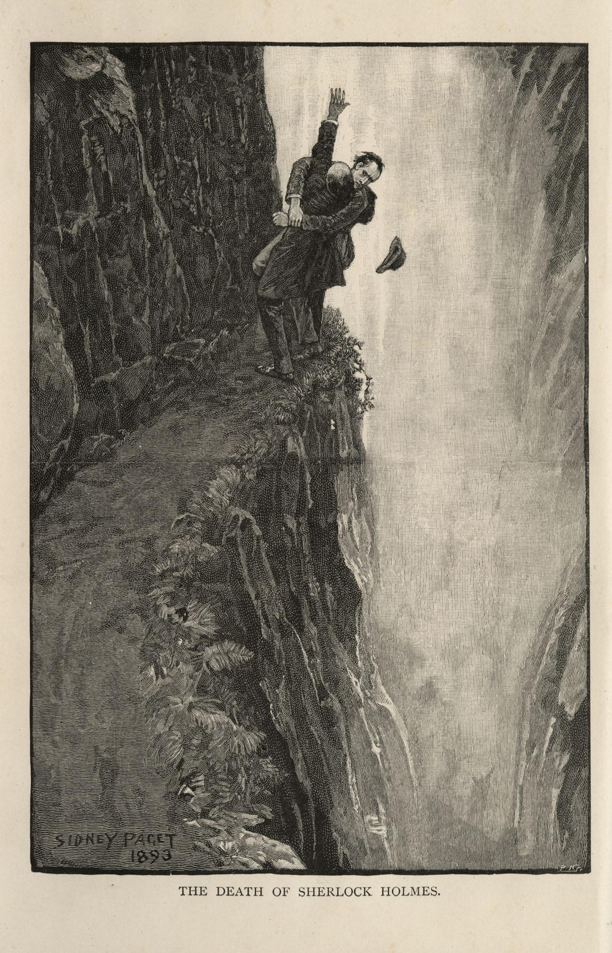 Legenda: detalhe da ilustração de Sydney Paget para O problema final, publicado em The Strand Magazine em dezembro de 1893. Holmes e Moriarty lutam no alto de um penhasco nas Cataratas de Reichenbach antes da queda de Holmes, em sua suposta morte - Fonte.